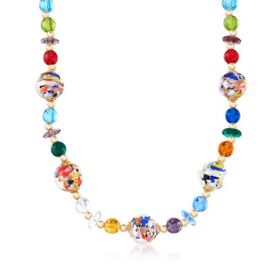 Italian Multicolored Murano Glass Bead Necklace with 18kt Gold Over Sterling Silver, , default