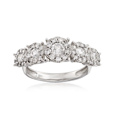 1.25 ct. t.w. Diamond Cluster Ring in 14kt White Gold, , default