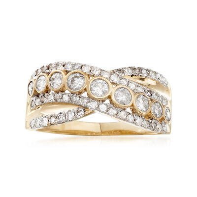 1.00 ct. t.w. Bezel-Set Diamond Sash Ring in 14kt Yellow Gold