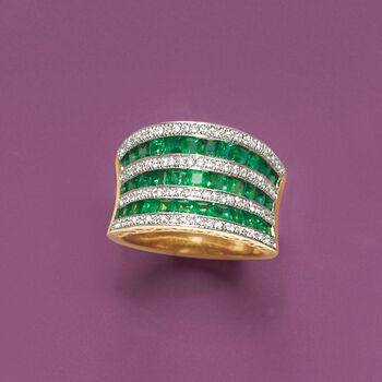 2.10 ct. t.w. Emerald and .35 ct. t.w. Diamond Multi-Row Ring in 18kt Yellow Gold. Size 5