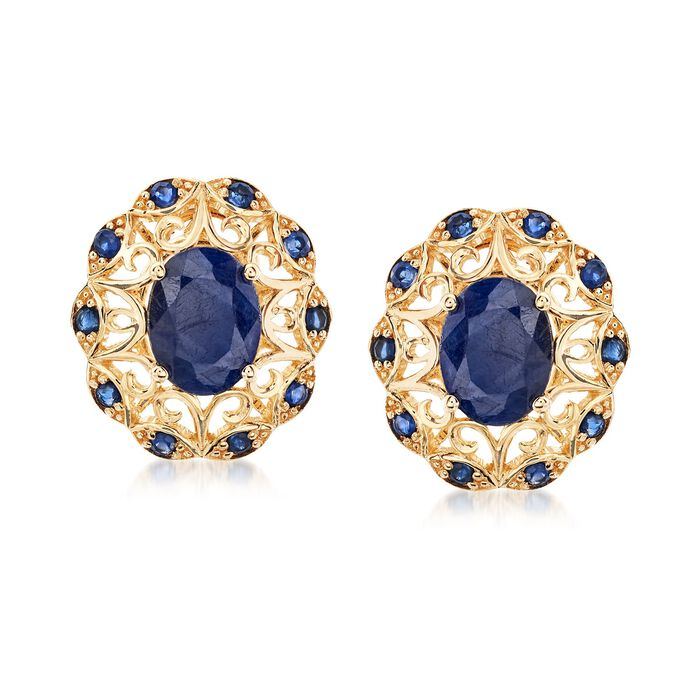 3.70 ct. t.w. Sapphire Scrolled Earrings in 14kt Yellow Gold, , default