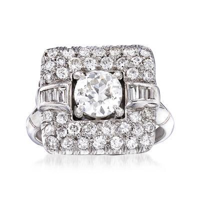 C. 1940 Vintage 1.76 ct. t.w. Diamond Ring in Platinum, , default