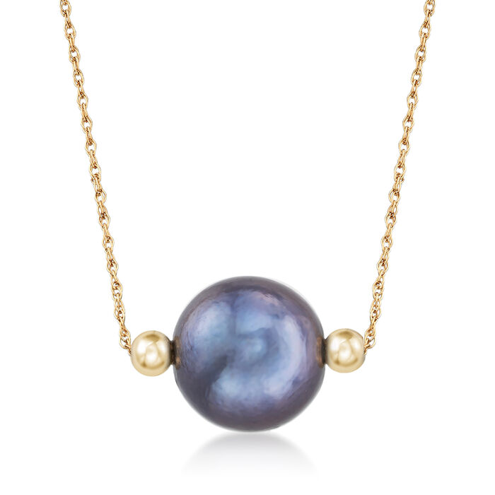 13-14mm Cultured Black Pearl Necklace in 14kt Yellow Gold, , default