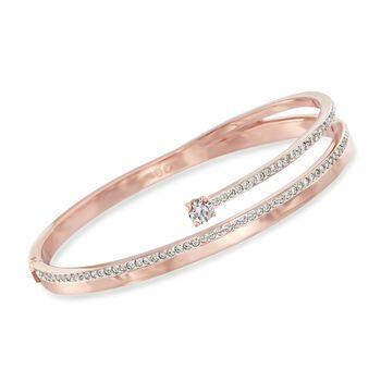 """Swarovski Crystal """"Fresh"""" Crystal Bangle Bracelet in Rose Gold Plate. 7"""", , default"""