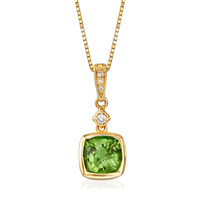 "C. 1990 Vintage 1.40 Carat Green Tourmaline Pendant Necklace with Diamond Accents in 14kt Yellow Gold. 18"", , default"