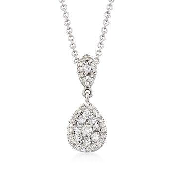 "Gabriel Designs .33 ct. t.w. Diamond Drop Necklace in 14kt White Gold. 17.5"", , default"