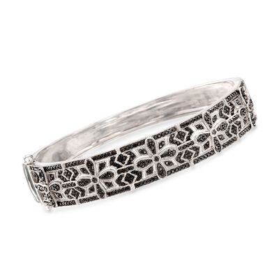 2.20 ct. t.w. Black Spinel Gothic-Style Bangle Bracelet in Sterling Silver