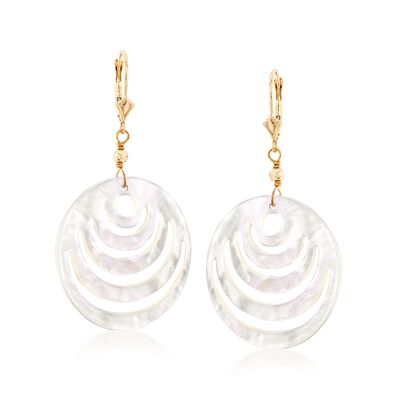 Carved Mother-Of-Pearl Disc Drop Earrings in 14kt Yellow Gold , , default