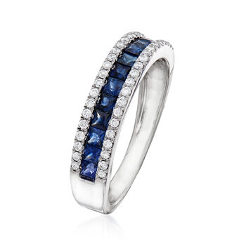 C. 1990 Vintage Giantti .75 ct. t.w. Sapphire and .30 ct. t.w. Diamond Band in 18kt White Gold. Size 6.75, , default