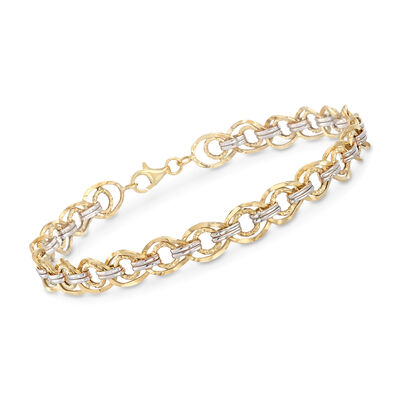 14kt Two-Tone Gold Textured and Polished Link Bracelet