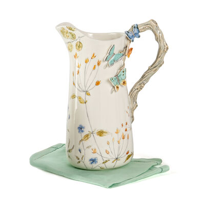 Fitz and Floyd Ceramic Butterfly Fields Pitcher, , default