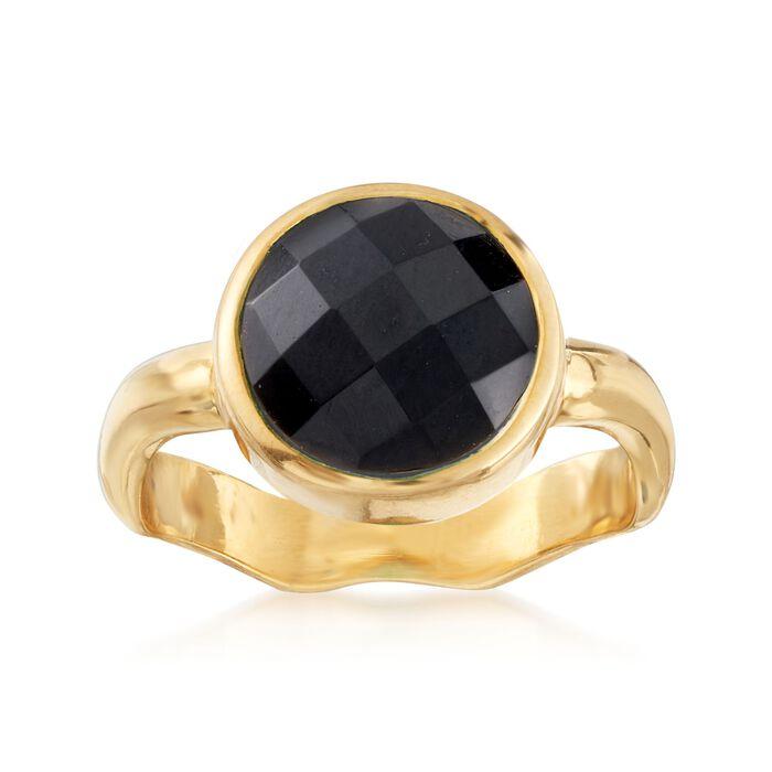Black Onyx Ring in 18kt Gold Over Sterling, , default
