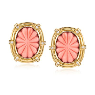 C. 1960 Vintage Pink Carved Coral and .65 ct. t.w. Diamond Earrings in 18kt Yellow Gold