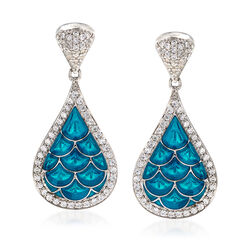 "Belle Etoile ""Marina"" Sea-Blue Enamel and 1.20 ct. t.w. CZ Earrings in Sterling Silver, , default"