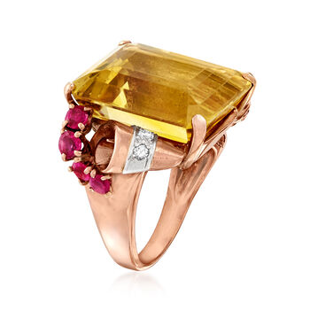 C. 1950 Vintage 21.80 Carat Citrine and 1.00 ct. t.w. Ruby Ring with .15 ct. t.w. Diamond in 14kt Rose Gold. Size 7, , default