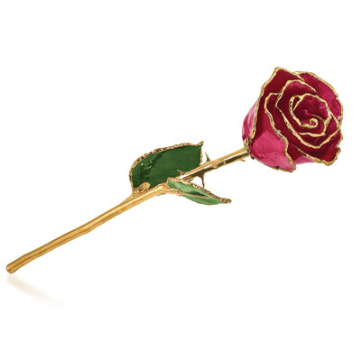 Lacquer-Dipped Gold-Plated Ruby Sun Rose, , default