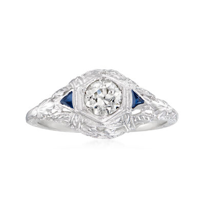 C. 1940 Vintage .40 Carat Diamond Ring with Synthetic Sapphire Accents in 18kt White Gold
