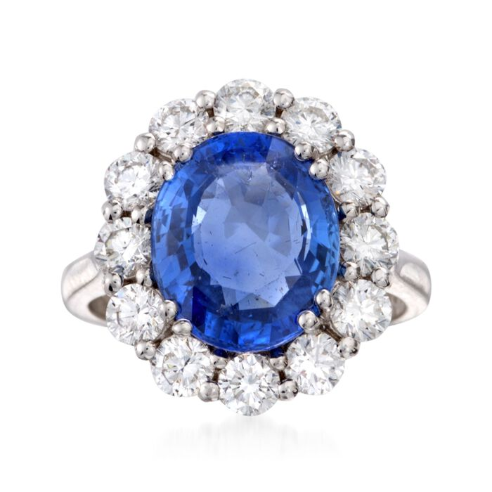 C. 2000 Vintage 5.69 Carat Sapphire and 1.60 ct. t.w. Diamond Ring in 18kt White Gold. Size 6.25, , default