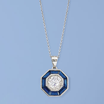 """1.50 Carat CZ and 1.20 ct. t.w. Simulated Sapphire Pendant Necklace in Sterling Silver. 16"""", , default"""