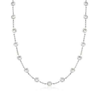 10.00 ct. t.w. Bezel-Set CZ Station Necklace in Sterling Silver, , default