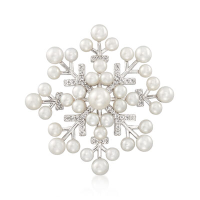 Cultured Pearl and .40 ct. t.w. White Topaz Snowflake Pin Pendant in Sterling Silver, , default