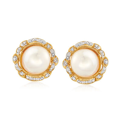 C. 1980 Vintage 12mm Cultured Mabe Pearl and .50 ct. t.w. Diamond Earrings in 18kt Yellow Gold, , default