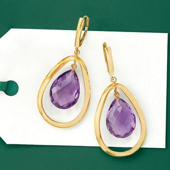 15.00 ct. t.w. Amethyst Teardrop Earrings in 14kt Yellow Gold
