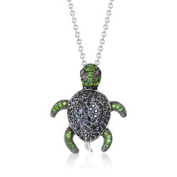 "Black Spinel and .30 ct. t.w. Green Diopside Turtle Pendant Necklace in Sterling Silver. 18"", , default"