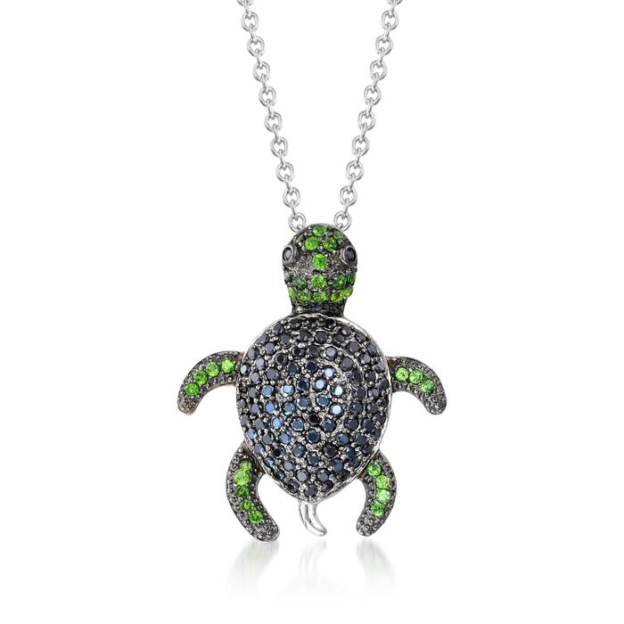 """Black Spinel and .30 ct. t.w. Chrome Diopside Turtle Pendant Necklace in Sterling Silver. 18"""", , default"""