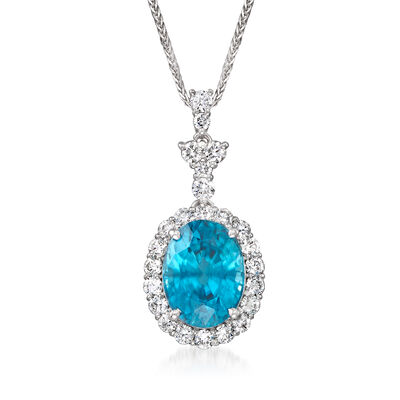 C. 2000 Vintage 6.30 Carat Blue Zircon and .88 ct. t.w. Diamond Pendant Necklace in 18kt White Gold