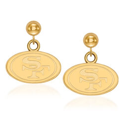 14kt Yellow Gold NFL San Francisco 49ers Dangle Ball Stud Earrings, , default