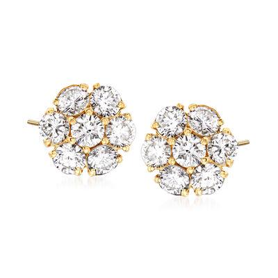 C. 1980 Vintage 2.50 ct. t.w. Diamond Cluster Stud Earrings in 14kt Yellow Gold, , default
