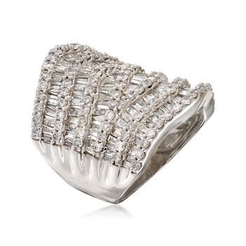 C. 1990 Vintage 5.00 ct. t.w. Diamond Wide Ring in 14kt White Gold. Size 8, , default