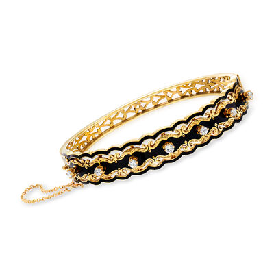 C. 1980 Vintage .50 ct. t.w. Diamond and Black Enamel Bangle Bracelet in 14kt Yellow Gold, , default