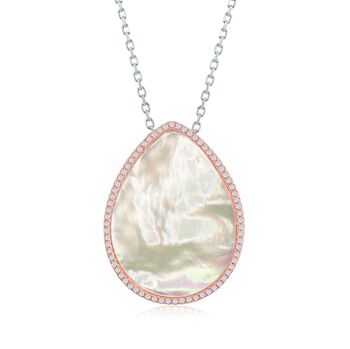 "Mother-Of-Pearl and .55 ct. t.w. CZ Drop Necklace in Two-Tone Sterling Silver. 16"", , default"