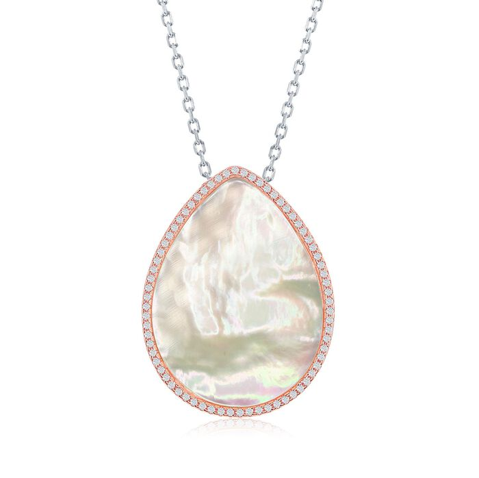 """Mother-Of-Pearl and .55 ct. t.w. CZ Drop Necklace in Two-Tone Sterling Silver. 16"""", , default"""