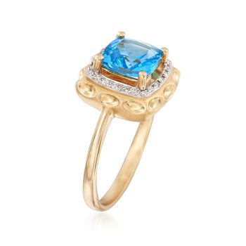 1.80 Carat Blue Topaz Ring with   .15 ct. t.w. Diamonds in 14kt Yellow Gold, , default