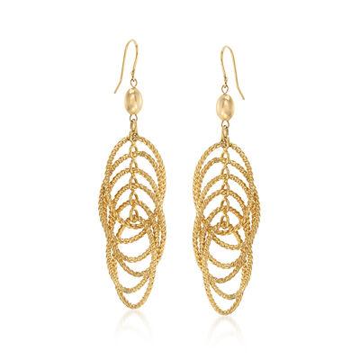 14kt Yellow Gold Oval Link Drop Earrings, , default
