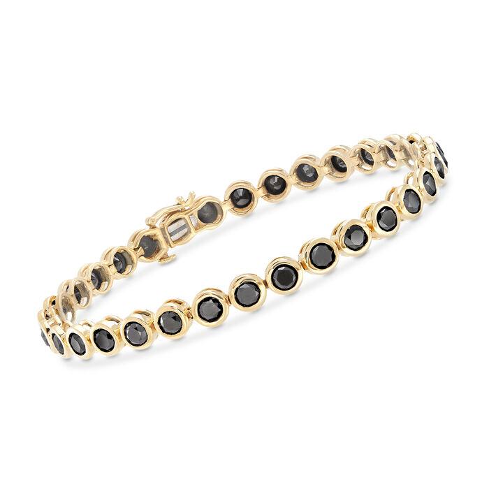"9.25 ct. t.w. Bezel-Set Black Diamond Tennis Bracelet in 14kt Yellow Gold. 8"", , default"