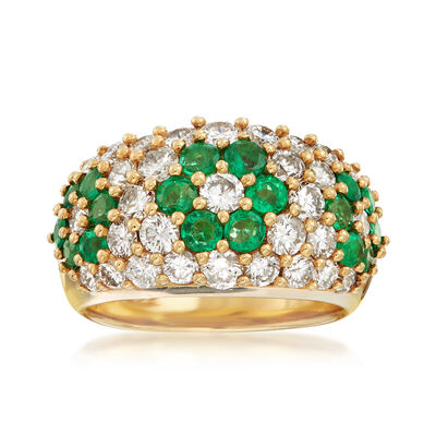 C. 1980 Vintage 1.28 ct. t.w. Emerald and 1.93 ct. t.w. Diamond Flower Ring in 18kt Yellow Gold, , default