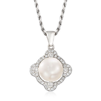 9-10mm Cultured Pearl and .20 ct. t.w. CZ Pendant Necklace in Sterling Silver, , default