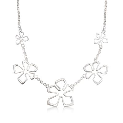 "Zina Sterling Silver Five ""Tiki Flower"" Necklace, , default"