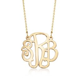 14kt Yellow Gold Small Script Monogram Necklace, , default