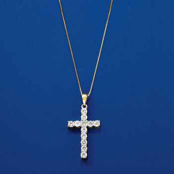 1.00 ct. t.w. Diamond Cross Necklace in 14kt Yellow Gold