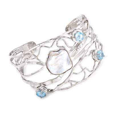 Cultured Baroque Pearl and 5.00 ct. t.w. Sky Blue Topaz Cuff Bracelet in Sterling Silver, , default