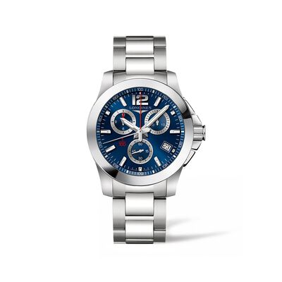 Longines Conquest Men's 41mm Chronograph Stainless Steel Watch - Blue Dial, , default