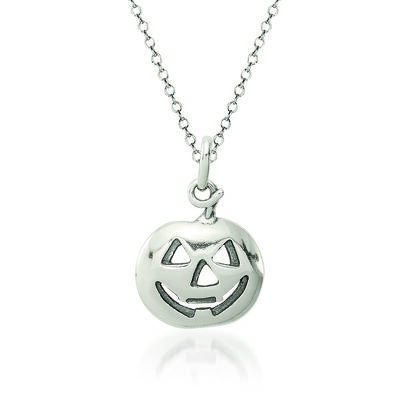 "Sterling Silver Pumpkin Charm Necklace. 18"", , default"