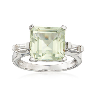 4.50 Carat Green Prasiolite and .20 ct. t.w. White Topaz Ring in Sterling Silver
