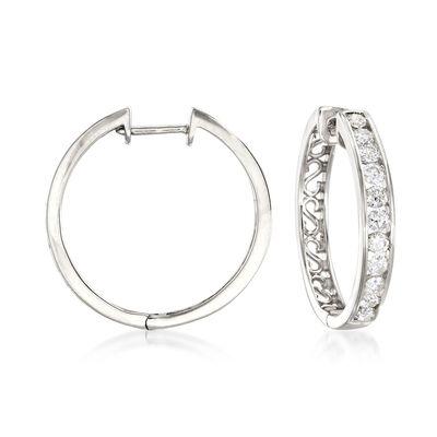 1.00 ct. t.w. Channel-Set Diamond Hoop Earrings in 14kt White Gold, , default