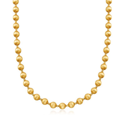 C. 1970 Vintage Brushed 14kt Yellow Gold Bead Necklace, , default